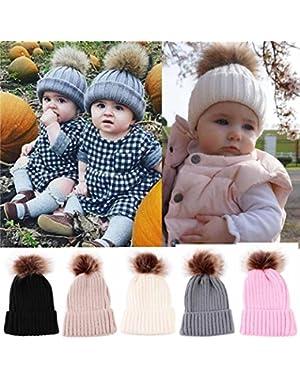 Newborn Kids Baby Cute Winter Hats Knitted Wool Hemming Hat