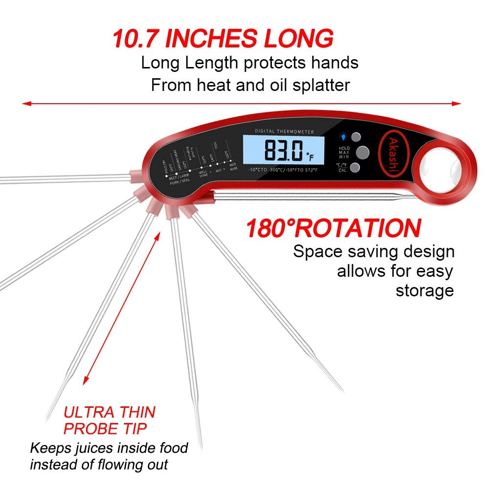 Akashi Meat/Gourmet Food Thermometer, Professional, Super fast, Waterproof, Beef,Chicken,Turkey, 2-1 Functional, LCD Screen, Digital, Grill, BBQ, Meat, Milk, Smoothie, Kitchen,Soup, Steak Thermometer.