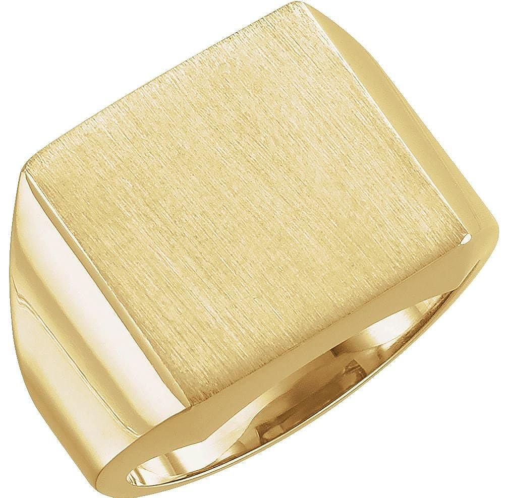 メンズBrushed Signet semi-polishedリング、10 Kイエローゴールド( 14 mm )サイズ6 B079TLD2JN