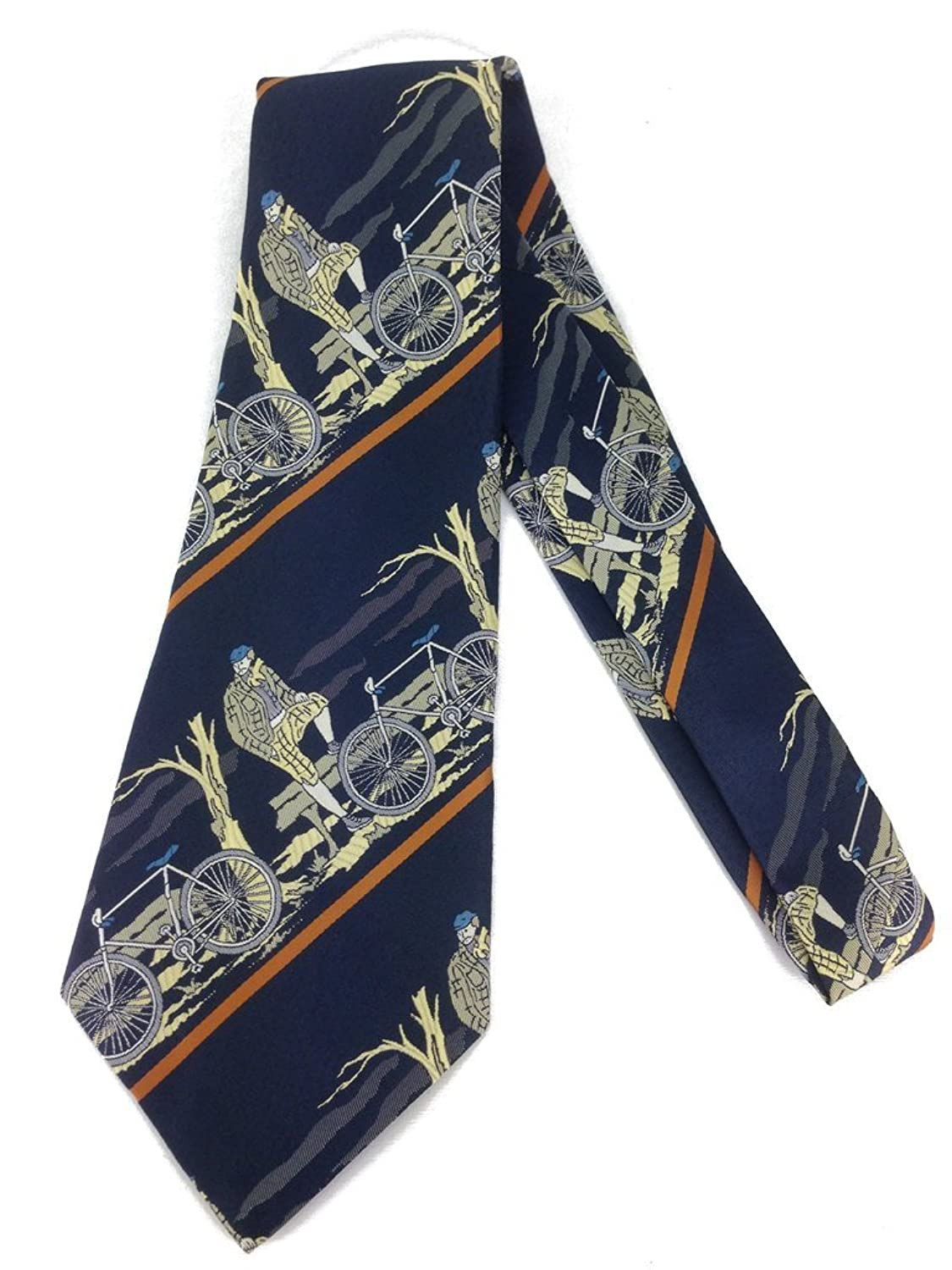 1920s Bow Ties | Gatsby Tie,  Art Deco Tie Cyclist Vintage Neck Tie - Jacquard Weave Wide Kipper - Bycicle $24.95 AT vintagedancer.com