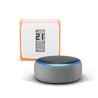 Echo Dot (3.ª generación), tela de color gris oscuro + Netatmo
