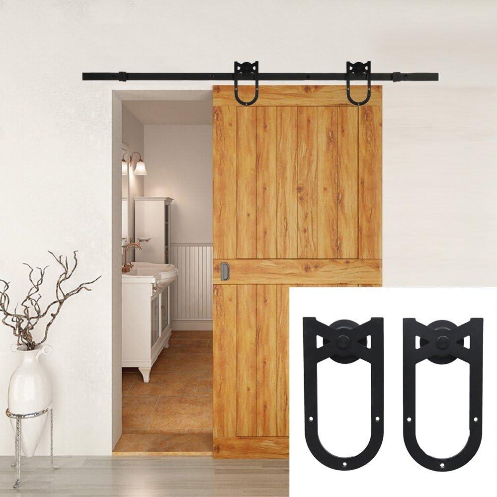Hahaemall 10 ft/3,05 m garaje Farmhouse Vintage rústico Polea rodillo de acero vía única puerta corrediza de granero Hardware negro Kit de rieles: Amazon.es: Bricolaje y herramientas