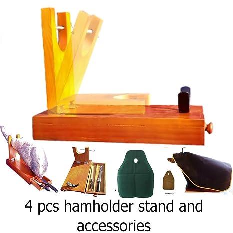 truevine Jamonero de 4 piezas, cuchillo, funda para jamón y afilador