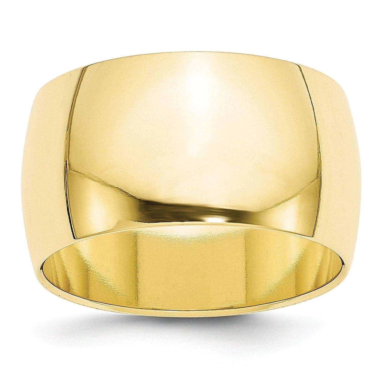 10k Yellow Gold 12mm Half Round Mens Womens Wedding Anniversary Band Size 8.5