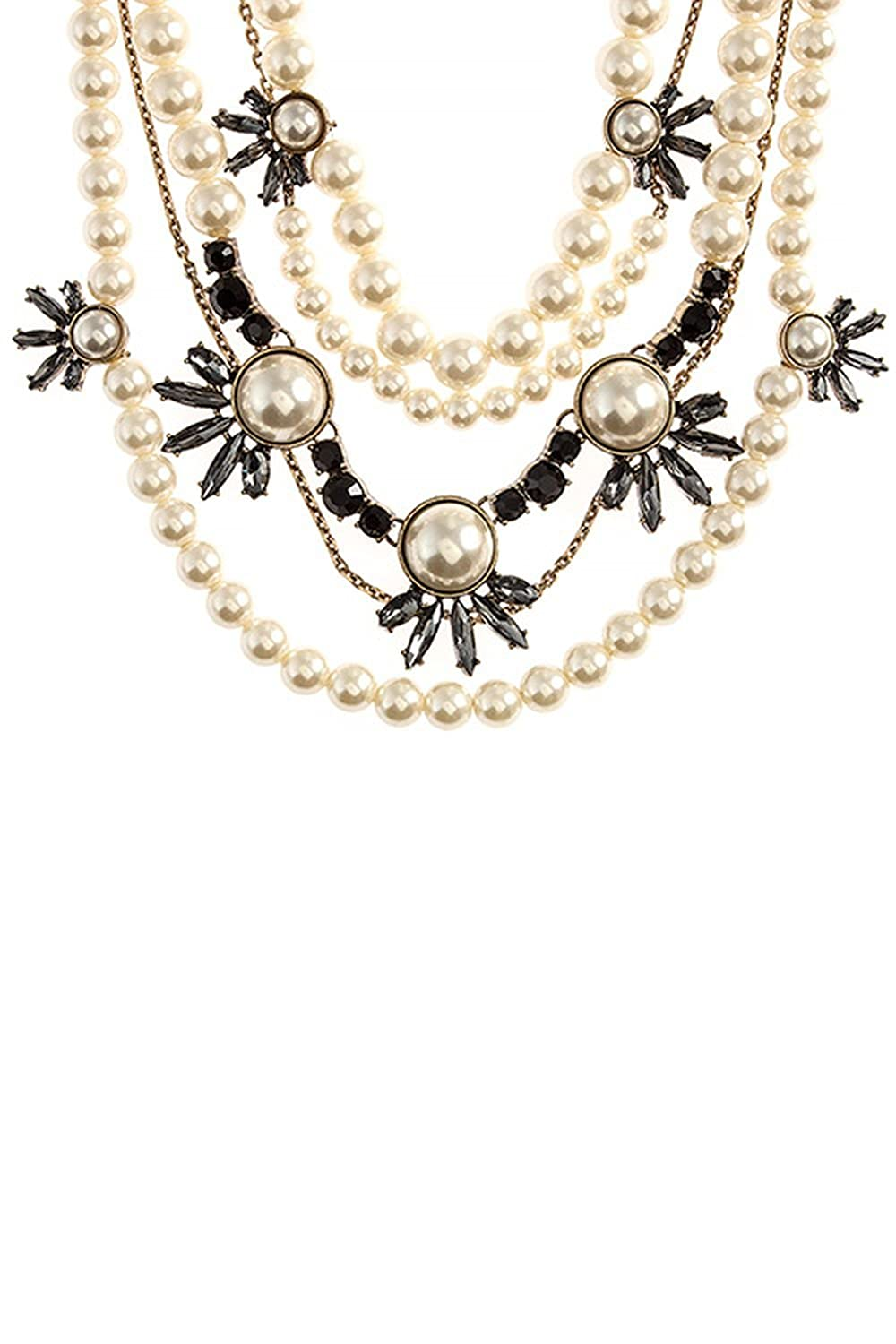 KARMAS CANVAS CRYSTAL FLORAL LAYERED FAUX PEARL NECKLACE SET