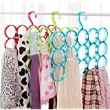 ShopAIS Triple line acrylic hanger Plastic Ring Hanger for Scarf, Shawl, Tie, Belt, Closet Accessory Wardrobe Organizer (Assorted Color)