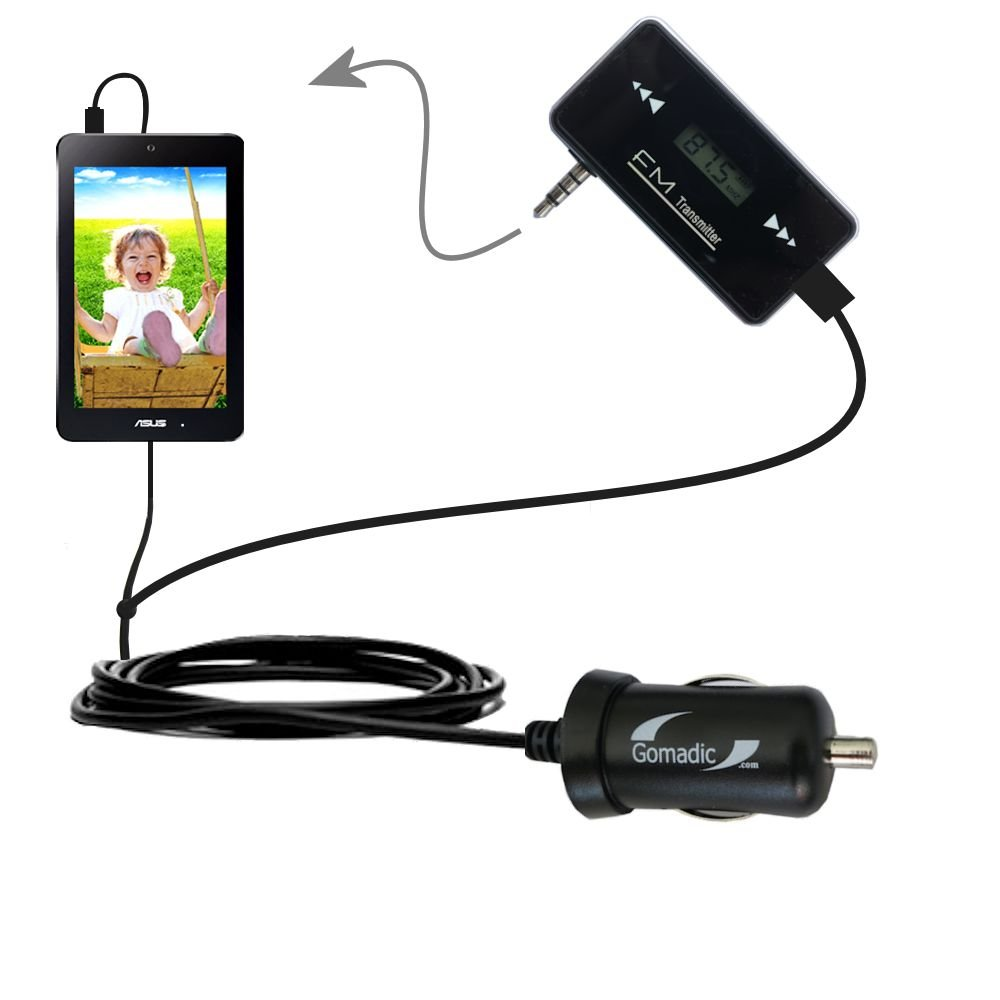 3rd Gen FM Transmitter with Micro Rapid Car Charger compatible with the Asus MeMOPad HD 7 inch