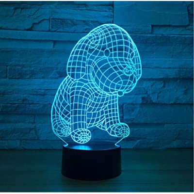 HJXXKJ 3D Dog LED Table Lamp USB Night Lights 7 Colors Touch Switch 3D Illusion Lights As Living Room Decorative for Children: Home & Kitchen