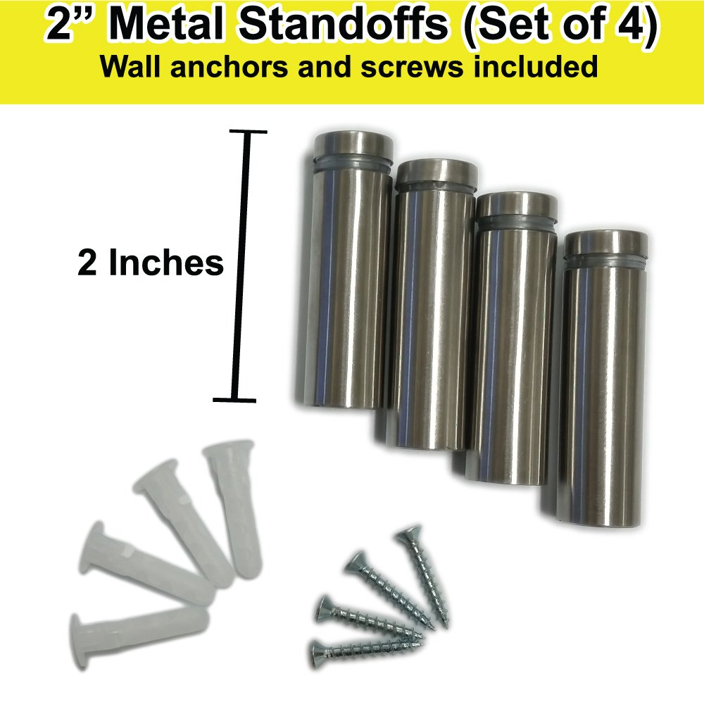 Glass and Acrylic Sign Stand Off Wall Anchors and Screws 2 Piece Small Sign Pack Stainless Steel Standoff 1 Inch Diameter x 2 Inch Barrel Length Brushed Finish for PVC