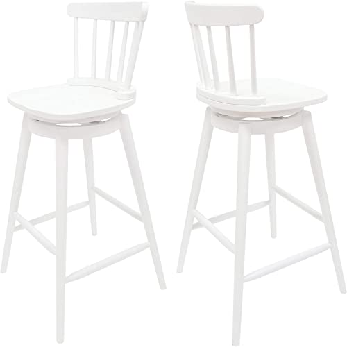 Christopher Knight Home 309289 Mia Farmhouse Spindle Back 30 Rubberwood Swivel Barstools Set of 2 , White