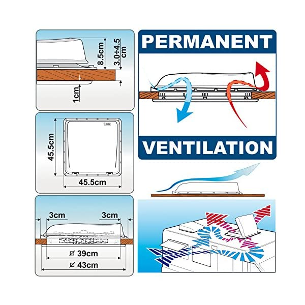 61U71tmR8uL Fiamma Turbo Vent Crystal Kurbeldachhaube Polar Control mit Thermostat 40 x 40 für Wohnwagen oder Wohnmobil