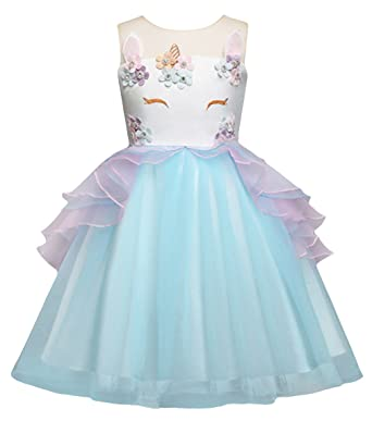La Vogue Baby Girls Flower Unicorn Costume Princess Dress Evening Gowns Blue 2 Years