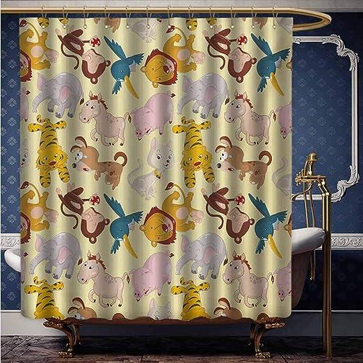 Animal Shower Curtain Cartoon Elephant Lion Print for Bathroom