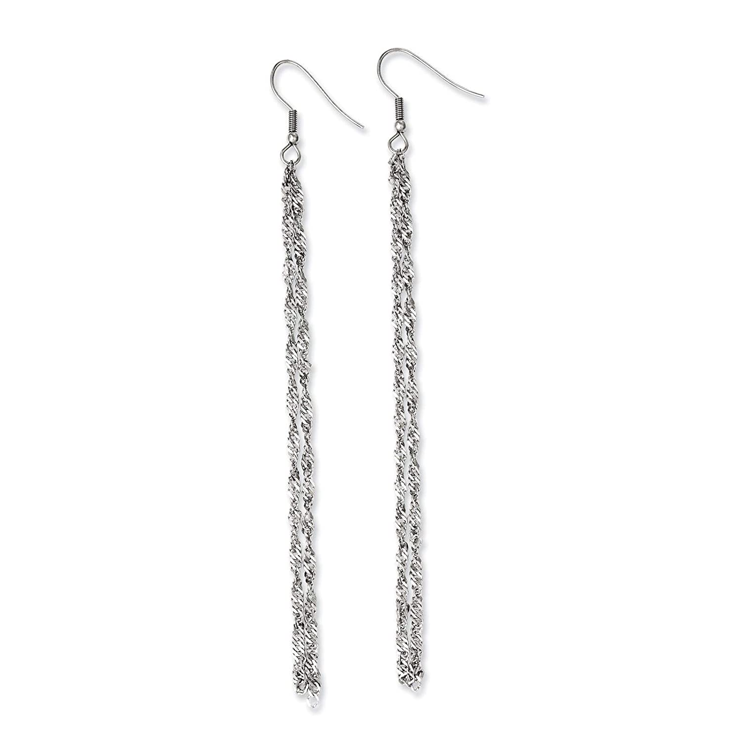 Stainless Steel Polished Multi-strand Twisted Chain Dangle Earrings