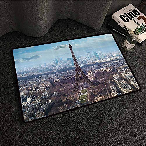 Eiffel Tower Interesting Doormat Aerial View of Eiffel Tower Clear Day Boulevard Busy Town Park Skyscrape Durable W35 xL59 Pale Blue Brown (Boulevard Kinder)