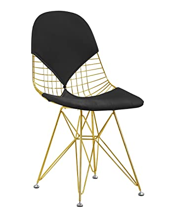 Wire Mesh Chair With Eiffel Base In Gold Finish   Black Cushion