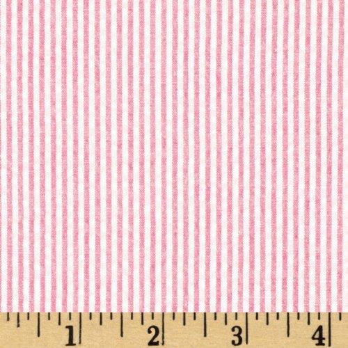 (Robert Kaufman Kaufman Classic Seersucker Stripes Pink & White Fabric by The Yard,)
