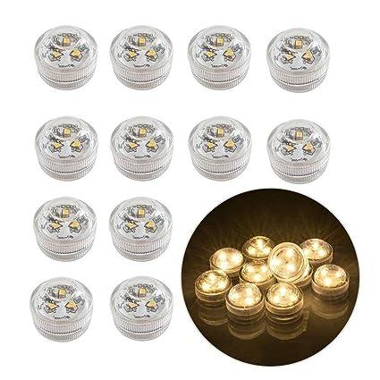 12pcs Luces sumergibles LED Luces subacuáticas impermeables SMD 3528 RGB luces de humor para vaso,