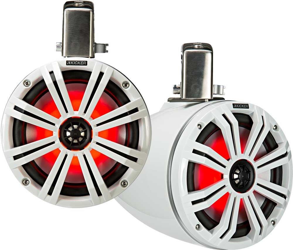 Kicker kmtc8 ( 200 mm )ロードMarine Cans with 45 km84lスピーカーペア;ホワイトグリルonホワイトCan B079H3HMPD