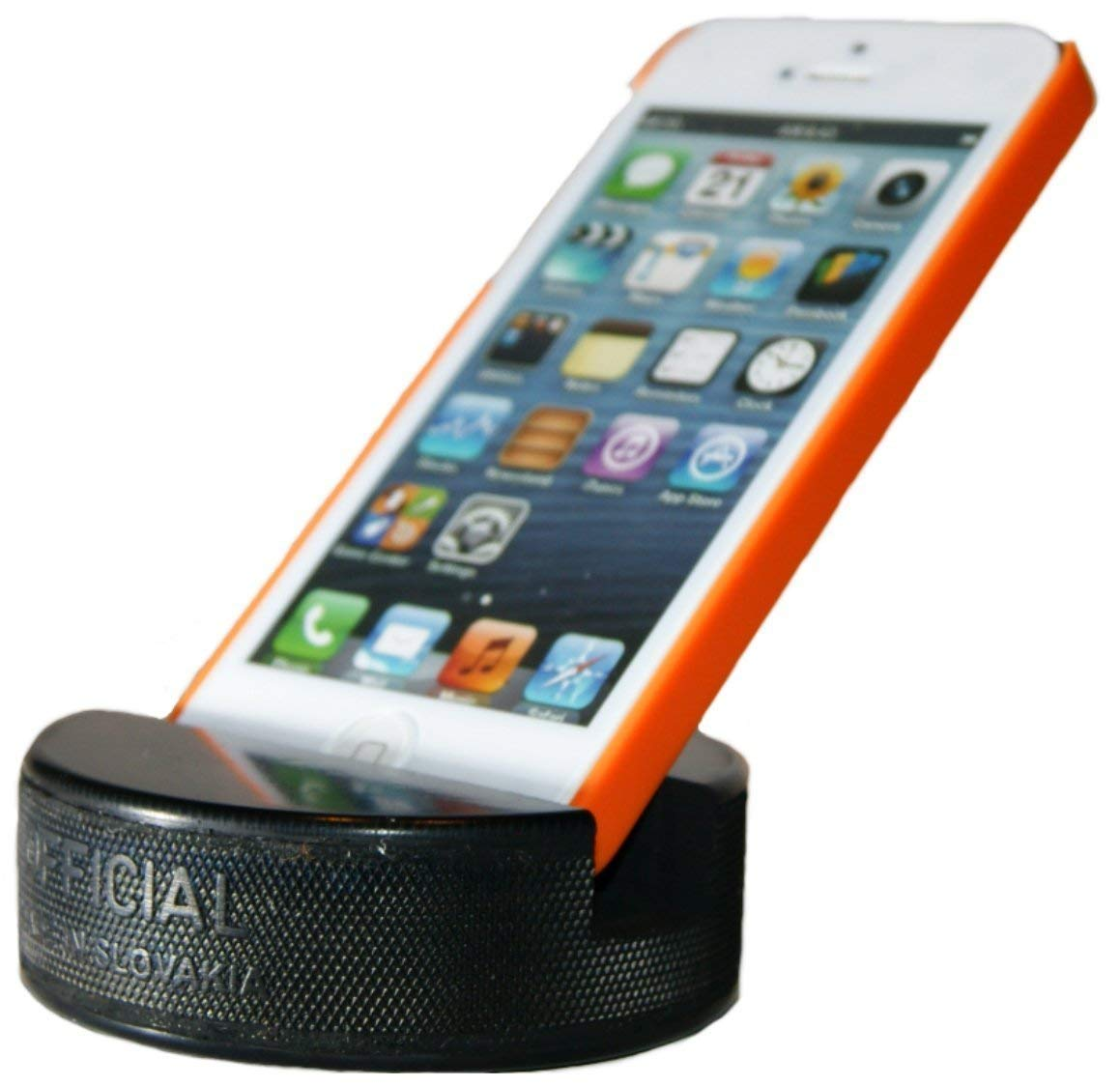 PUCKUPS - Indestructible Hockey Puck Cell Phone Stand - The Best Universal Smartphone Stand. Compatible for All iPhone/Samsung/Google/LG Smartphones. Made from a Real Hockey Puck. (4 Pack) by PuckUps