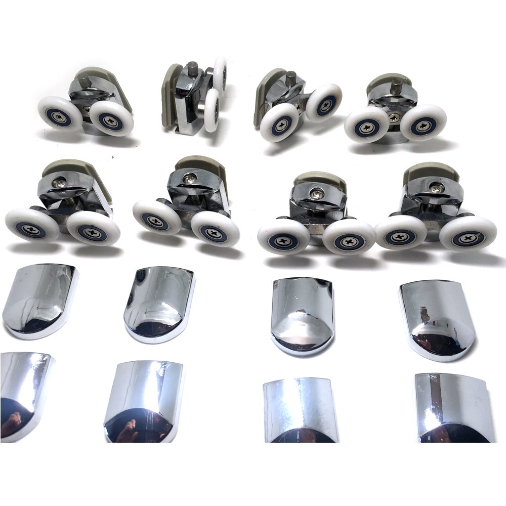 Replacement Shower Door Fixing Wheels in Chrome - 4x Top & 4x Bottom - Fits Glass 6-8mm ... phscywjc
