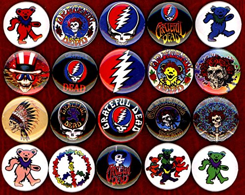 Grateful Dead x 20 1'' inch (25mm) NEW buttons pin badge logo jerry garcia bear the head by Panic Buttons (Image #2)