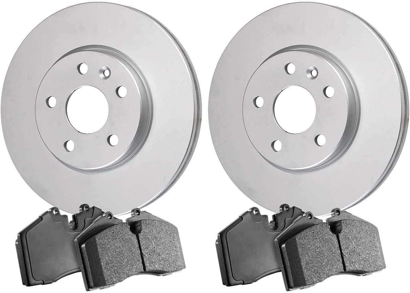2016 For GMC Sierra 1500 Front Cross Drilled Slotted and Anti Rust Coated Disc Brake Rotors and Ceramic Brake Pads