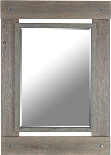Mirrorize Gray Wash Real Wood Wall Vanity, Hallway, Bathroom, Bedroom 30×43 Inner Mirror 20X28 Rectangle Large Decorative Bevelled Mirror