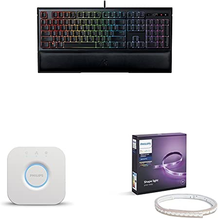 Razer Ornata Chroma - Teclado gaming con membrana mecánica + Philips Hue - Puente de conexión + Philips Hue White and Color Ambiance - Lightstrip Plus: Amazon.es: Informática