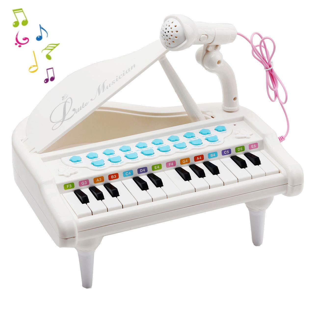 Amy & Benton Piano Keyboard Toy for Kids, 24 Keys White Toy Piano Multi-functional with Microphone for Toddlers Boys Girls Gifts toddlers piano toy Back to school Chilren's Day Birthday Day