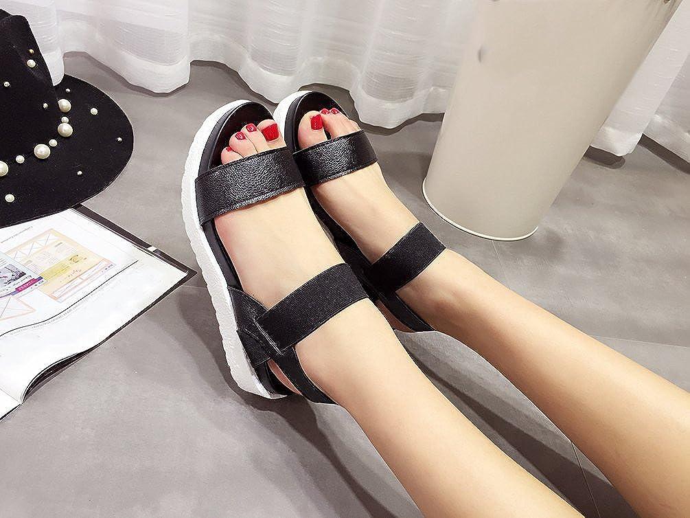 5ac8967c107b YOUJIA Womens Summer Platform Roman Sandals Peep Toe Elastic Strap Flats  Slippers Beach Shoes  Amazon.co.uk  Shoes   Bags