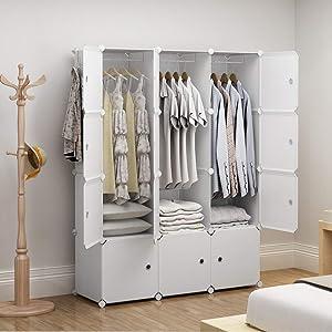 GEORGE&DANIS Cube Storage Portable Wardrobe Closet Plastic Dresser Organizer Carbinet Shelf DIY Furniture, White, 18 inches Depth, 3x4 Tiers