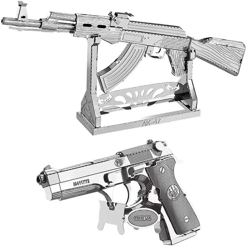 3D Metal Puzzle AK-47 + Beretta 92 Kit Modelo de Pistola W11102-07 DIY Laser Cut Assemble Jigsaw Toy 2pcs Set