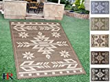 Handcraft Rugs Indoor/Outdoor area Rug with Traditional Southwestern Design Mocha and Ivory Color (7 ft. by 10 ft.)