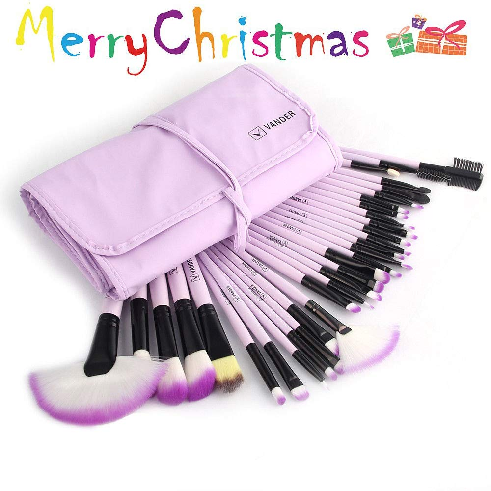Vander Synthetic Kabuki Foundation Blending Makeup Brushes Kit with Bag - Purple