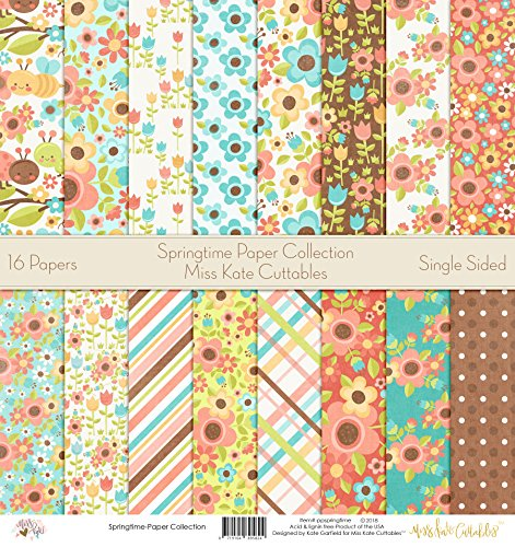 Pattern Paper Pack - Springtime - Scrapbook Premium Specialty Paper Single-Sided 12