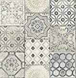 Moroccan Tile Wallpaper in Blue (Gray & Cream)