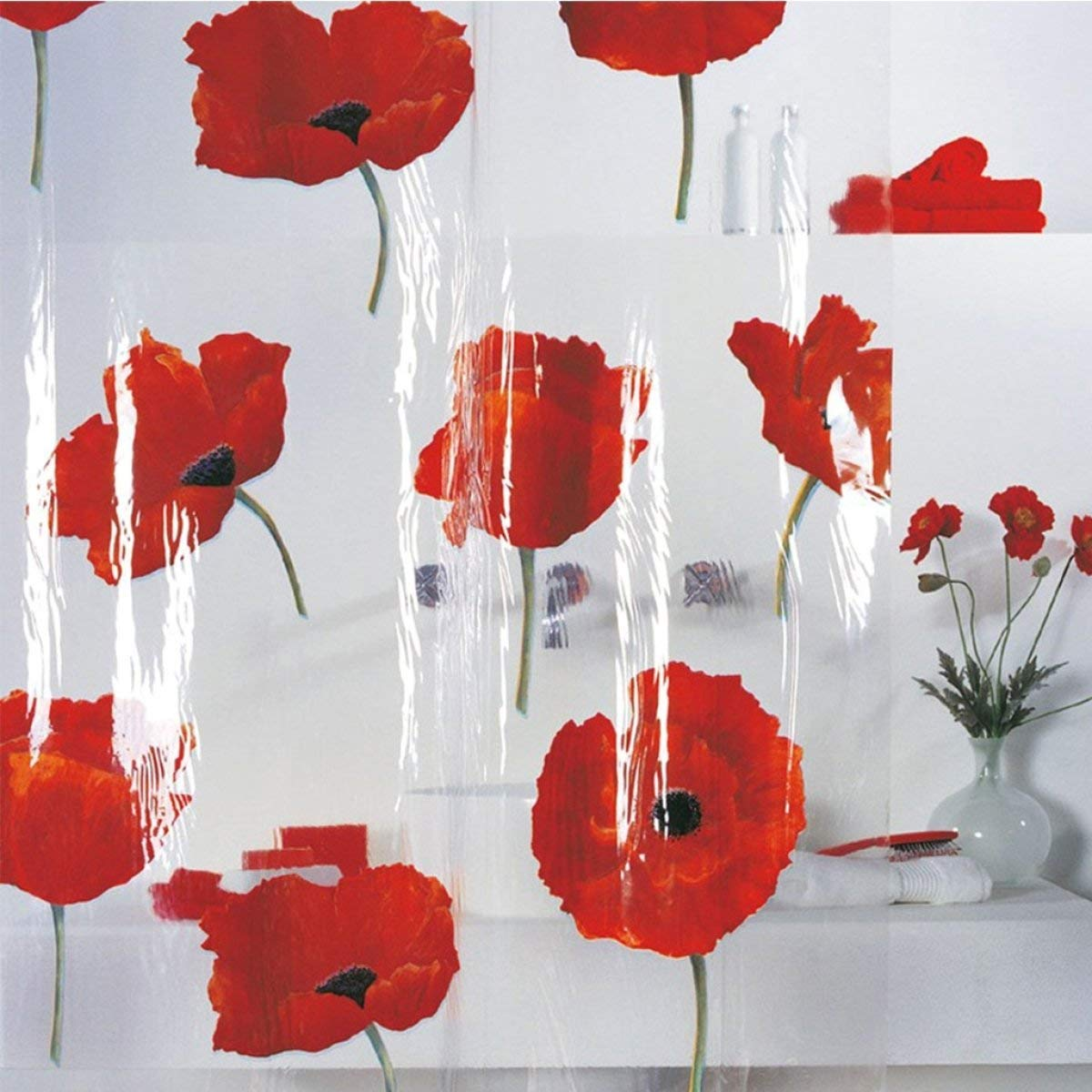 Der Europe Creative PVC Petal Screen Transparent Curtain Waterproof and Mildew Thickened Clean Bathroom Shower Curtain Bathroom Accessories