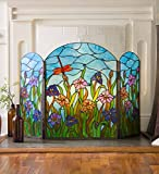 Stained Glass Dragonfly Fireplace Screen