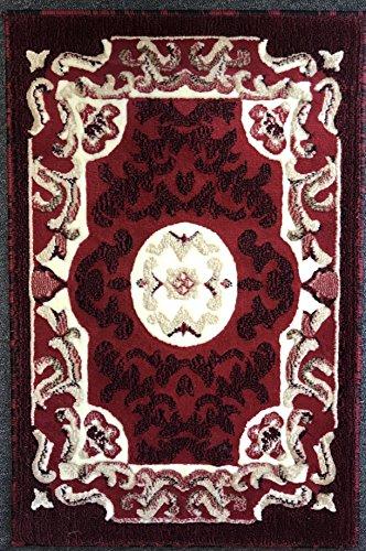 Traditional Door Mat Area Rug Red Design #101 (2ft.x3ft.) - Black Persian Carpet