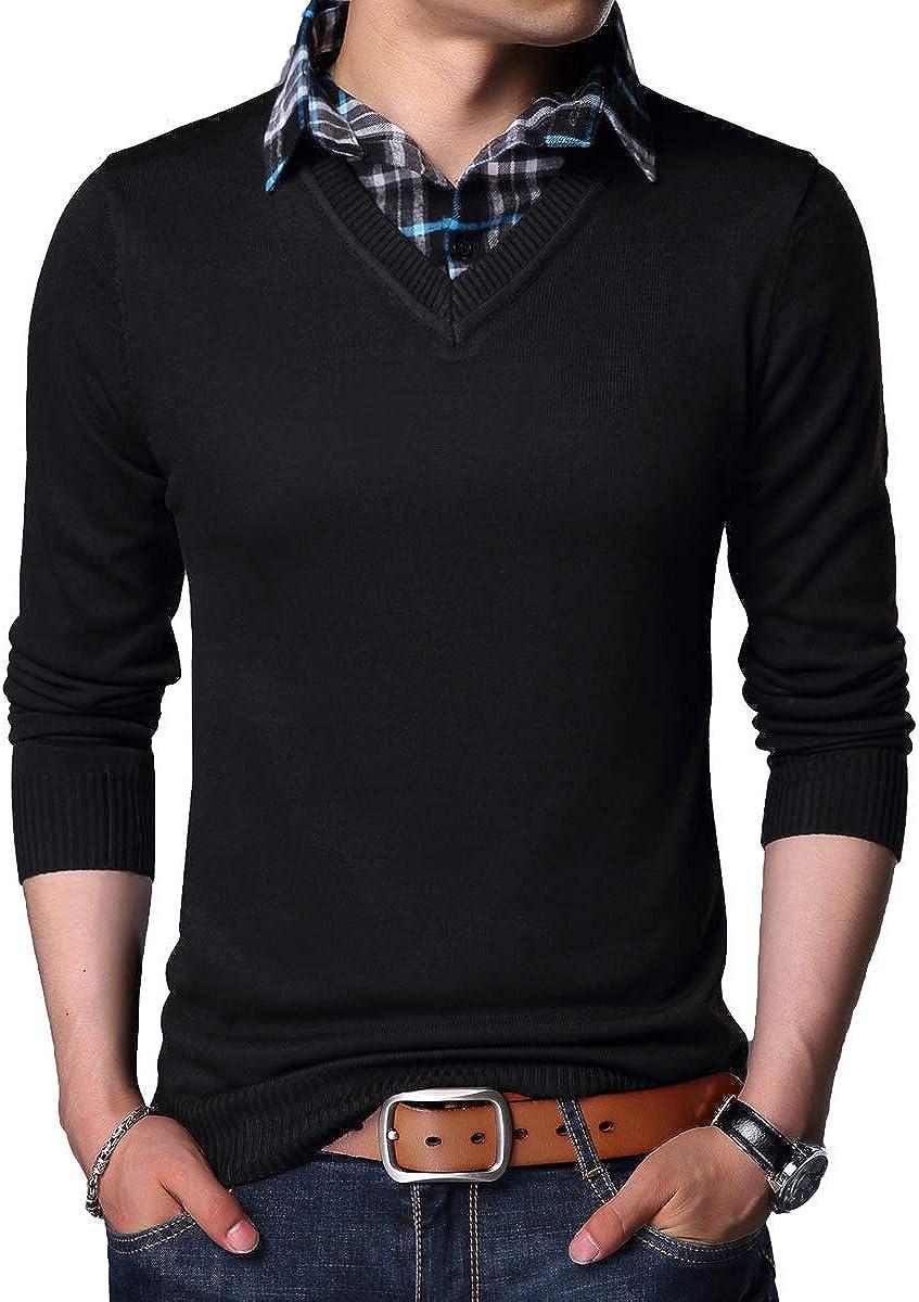 Yingqible Herren 2 in 1 Hemd Kragen Shirt Pullover Lange /Ärmel Strickpullover Feinstrick Mit V-Ausschnitt Herren Strickjacke mit Hemdkragen