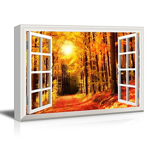 3D Visual Effect View Through Window Frame Quiet Lane in The Forest with Red Trees in Autumn