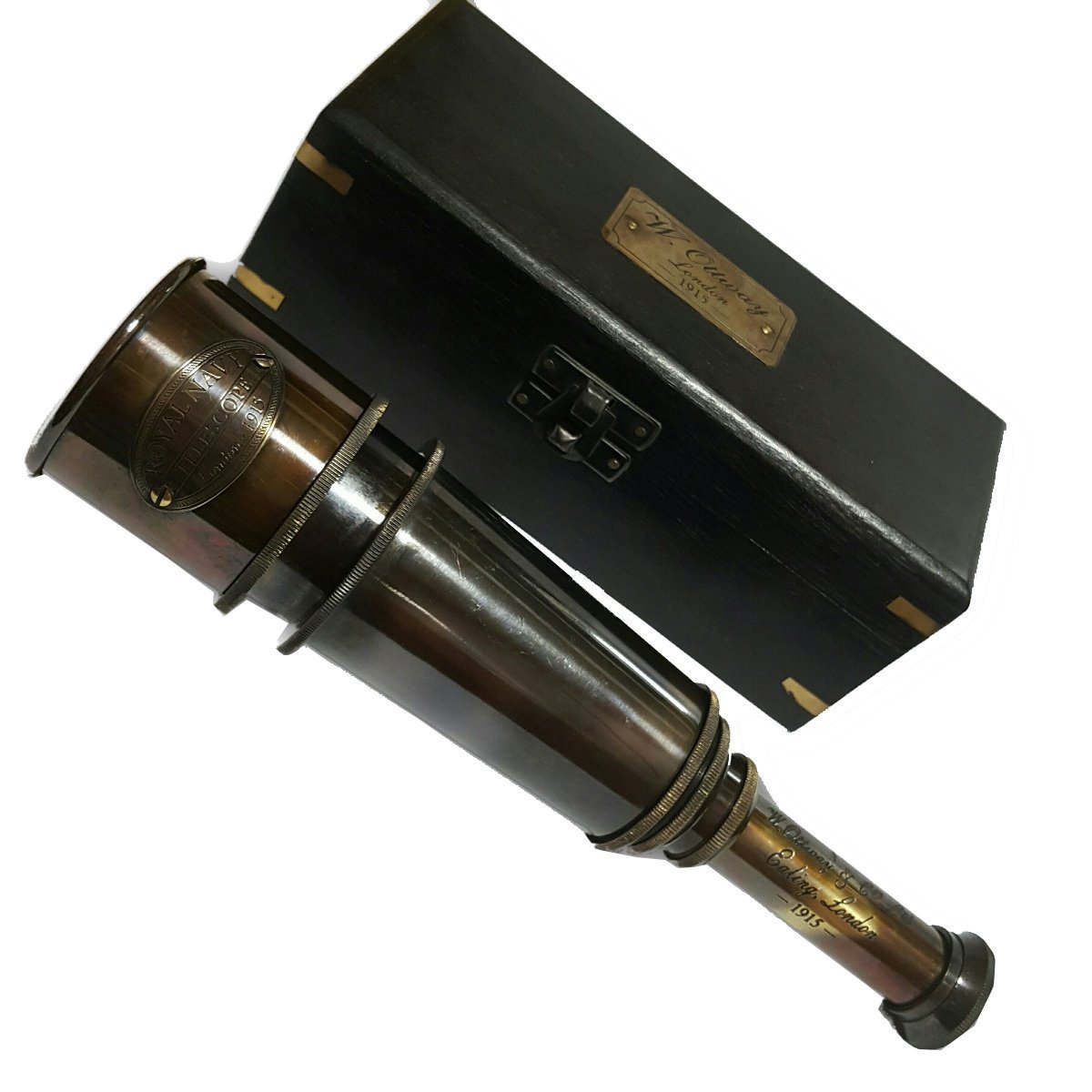 Global Art World W.Ottway Vintage Old Art Marine Décor Antique Navy London Nautical Spyglass Telescope TC 021