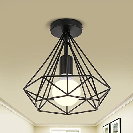 La Industria Vintage Diseño Jaula plafón metal hierro fundido Marco Pantallas de lámpara rústico creativo Edison Lámpara de techo Loft Retro geome ...