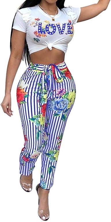 Mujer Set Camisetas Y Largo Pantalon Verano Único Casual 2 Juegos Conjunto Manga Corta Cuello Redondo Carta Estampadas Shirt Cintura Alta Flecos Pantalones: Amazon.es: Ropa y accesorios