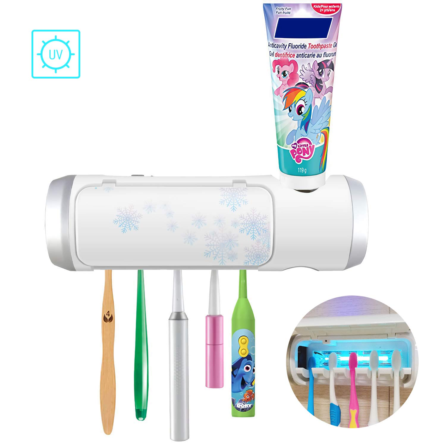 UV Toothbrush Holder with Sterilization Function, Drying and Toothpaste Holder, 5 Slots Family Kids Toothbrushes for Shower Bathroom,USB Charging Equipped with an Adapter