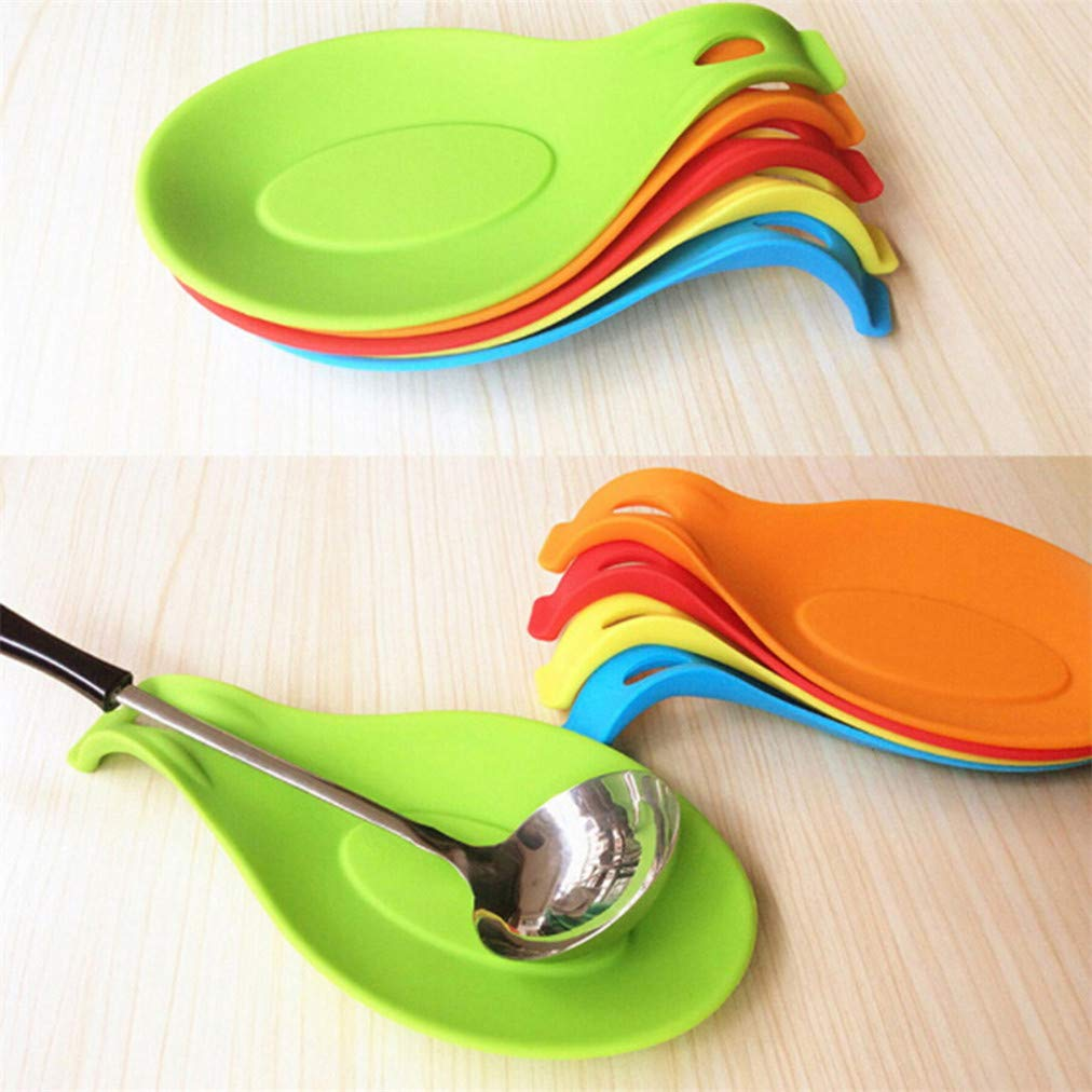 Sevenfly Silicone Spoon Rest Ustensile Cuisine Support cuill/ère /à Soupe Forme Ustensile de Cuisine Titulaire Spoon Place Tap Hot Pad Rouge