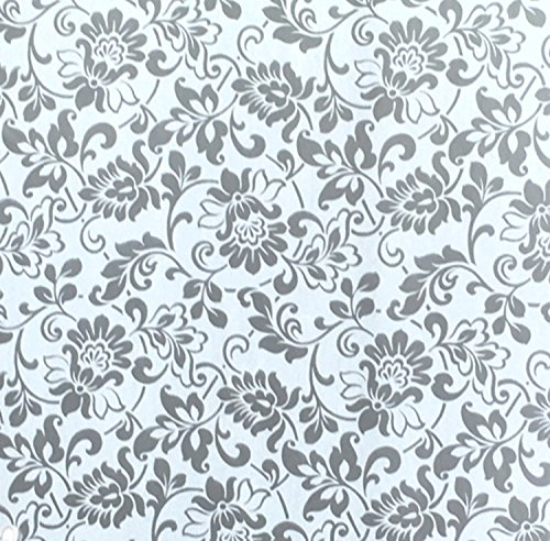 Klebefolie - Möbelfolie Ornamente Silber Grau - 45 cm x 200 cm - Dekorfolie mit silbernen Barock Elementen - dekorative selbstklebende Folie