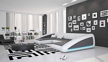 Wohn-Landschaft XXL mit LED-Beleuchtung in grau/weiß 355x200 ...