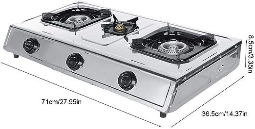 Encimera de Gas 3 Fuegos 71 x 36 x 8,5cm Cocina de Gas con ...